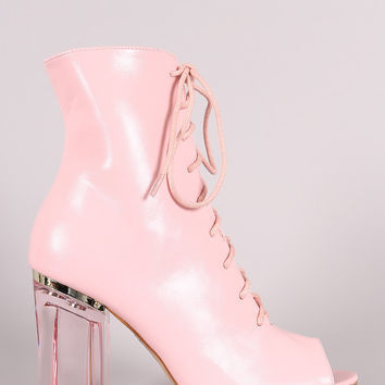 Peep Toe Lace Up Chunky Lucite Heeled Ankle Boots