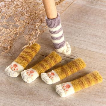 4Pcs /Set Cute Cat Paw Table Chair Foot Leg Knit Cover Protector Socks Sleeve Protector Good Scalability Non-Slip Wear 7A0475