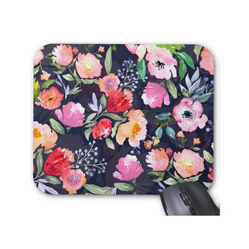 Watercolor Flowers Print Mouse Pad, Colorful Vintage Floral Mousepad on Navy Blue