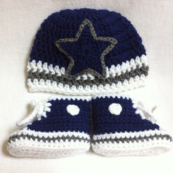 Dallas Cowboys-inspired Converse and Hat set - Preemie, Newborn- 3 mos., 3-6 mos. - Crochet Baby Booties