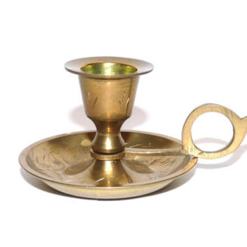 Small Brass Candle Holder, Candleholder, Candlestick, Wee Willy Winky Candle Holder, Solid Brass, Heavy, For Taper Candle, Made in India
