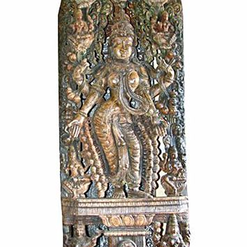 Antique Lakshmi Statue Holding Lotus Temple Sculpture Supreme Goddess of Money, Power