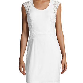 Dorian Linen Lace-Panel Sheath Dress, Size: