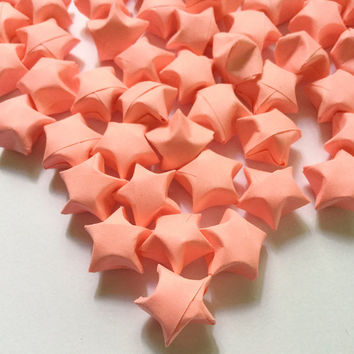 Origami Lucky Stars | Plain Pink Paper Stars | Wishing Star Handmade Folded Craft Party Supplies |Thanksgiving Christmas Decoration Confetti