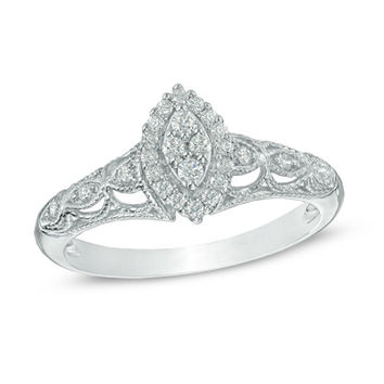 1/5 CT. T.W. Marquise Composite Diamond Frame Promise Ring in 10K White Gold