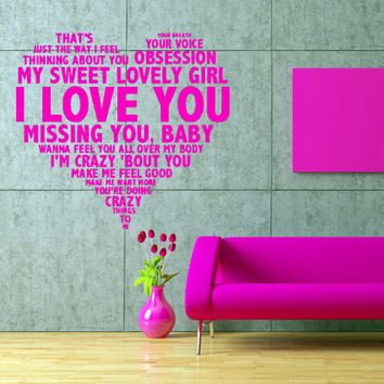 Wall decal decor decals art inscription letter quote love my sweet girl heart baby crazy gift (m559)