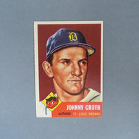 Vintage 1953 Topps #36, Johnny Groth, St. Louis Browns Baseball Card, VG+, Gift for Him, Collectible Card