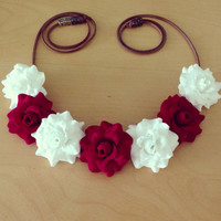 Red and White Rose Flower Halo //Flower Crown// Flower Headband// Festival Wear, EDC Coachella, Ultra, Hang Out, Rave