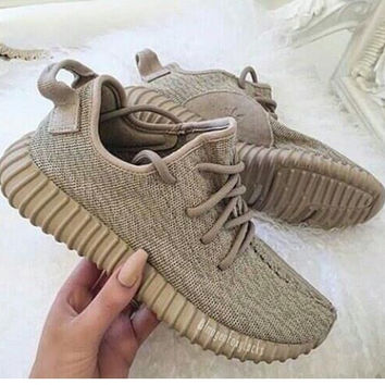 """Adidas"" Women Yeezy Boost Sneakers Running Sports Shoes Khaki"
