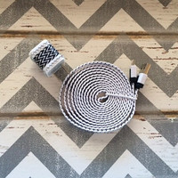 New Super Cute Jeweled Black & White ZigZag Designed USB Wall Connector + 6ft Flat White Braided iphone 5/5s/5c Cable Cord