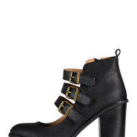 Triple Buckled Mary Jane Booties - 10
