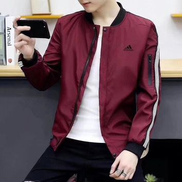 """Adidas"" Men Casual Fashion Stripe Long Sleeve Zip Cardigan Jacket Coat"