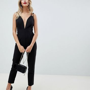 ASOS DESIGN Jumpsuit with plunge neck and peg leg at asos.com