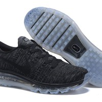 """Nike Air Max Flyknit"" Unisex Sport Casual Flywire Weave Air Cushion Sneakers Couple Running Shoes"