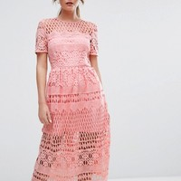 Boohoo Corded Lace Panelled Skater Dress at asos.com