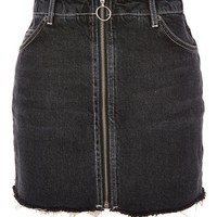 PETITE Zip Through Denim Mini Skirt - Clothing
