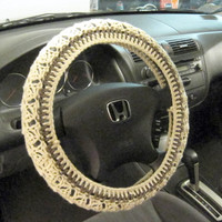 Crochet Steering Wheel Cover, Wheel Cozy - oatmeal/taupe heather (CSWC 7I)