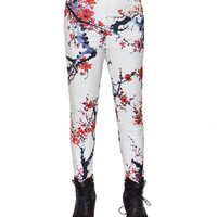 White Plum Blossom Print Leggings