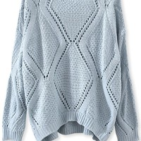 Solid Open-Knit Diamond Sweater