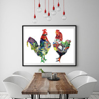 Chicken and rooster Watercolor Print, Farm Art, Giclee Print, Wall Art, animals illustration poster, country art decor [NO 190]