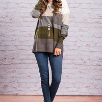 Color Block Pocket Sweater, Charcoal-Olive