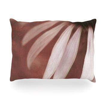 "Iris Lehnhardt ""Copper and Pale Pink"" Brown Flower Oblong Pillow"