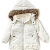 Starting Out Baby Girls 3-24 Months Faux Fur Ruffle-Trim Hooded Coat | Dillards