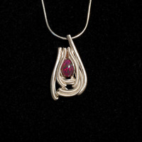 Sterling Silver Black Opal Mini Wire Wrapped Pendant Handmade USA