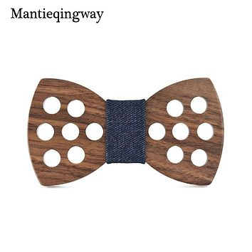 Business Wooden Bow Tie For Mens Hollow Polka Dots Wood Bowtie Skinny Bowknots Collar Gravatas Cravat Ties