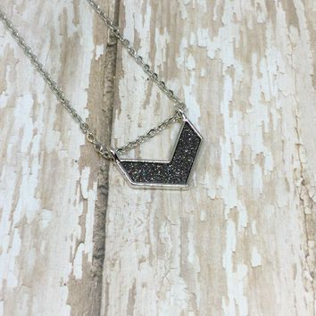Dark Grey Glitter and Silver Chevron Arrow Pendant Necklace on Stainless Steel Chain
