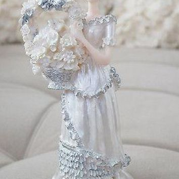 Southern Belle Bell Girl Figurine Flower Basket Silver White Home Decor