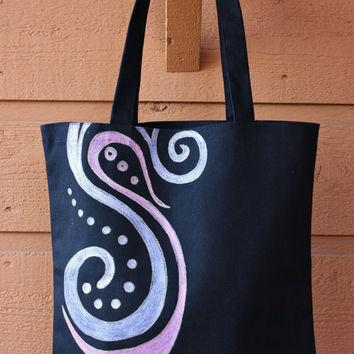 SALE - Pink and Purple Swirles Tote Bag - Book Bag - Beach Bag