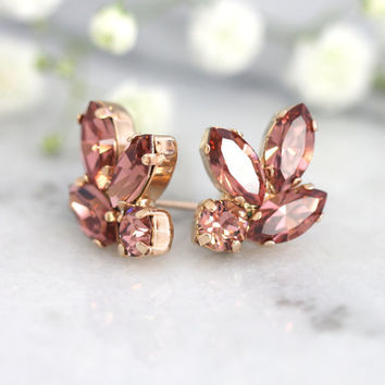 Blush Bridal Earrings, Bridesmaids Blush Earrings, Swarovski Pink blush Earrings,Blush Earrings, Bridal Blush Cluster Crystal Studs Earrings