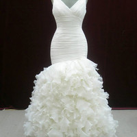 Beautiful Organza Pleated Bridal Gown with Straps Custom Made to your Measurements