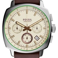 Men's Fossil 'Haywood' Chronograph Watch, 42mm - Brown/ Silver/ Cream