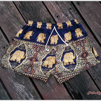 Dark Blue Shorts Elephant Print Boho Hobo Beach Hippie Hipster Clothing Aztec Ethnic Bohemian Ikat Tank Handmade Colorful Unique Bikini