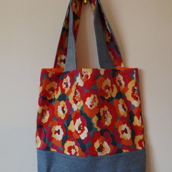 Colorful Flower Denim Tote Bag