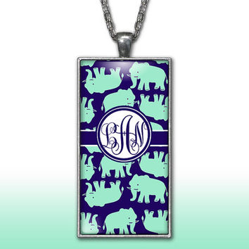 Elephants Monogram Pendant Charm Necklace Navy Mint Personalized Custom Initial Necklace Monogram Jewelry