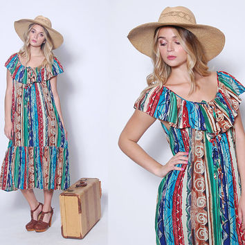 Vintage 70s RUFFLE Sundress 80s ETHNIC Print Dress Boho Sun Dress Hippie Dress TENT Dress