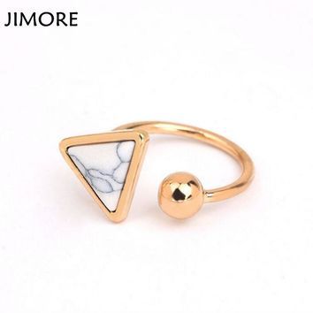 [JIMORE] Triangle Marble Stone Jewelry Ring 2017 Hot Sale Opening Bague Femme Trendy Party Rings for Women Wedding Bangs Anillos