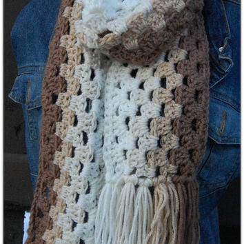 Women Scarf - Ombre Brown Handmade Crochet Scarf - Long women Scarf - winter and fall accessory - Gift for her -