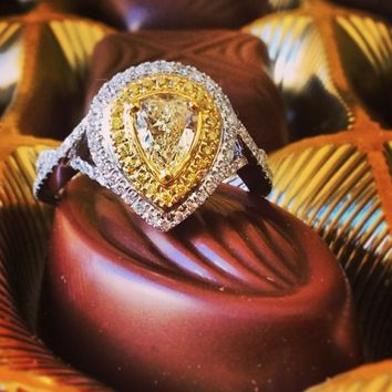 Yael Two-Tone Canary and White Diamond Ring