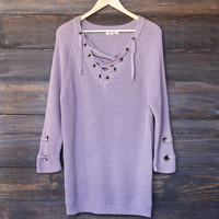 lace up grommet sweater - soft mauve