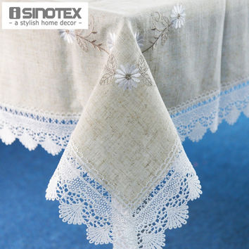 1pcs/lot Linen Table Cloth Lace Flowers Embroiderded Table Cover Square Rustic Tablecloth For Wedding Decorative Home 3 Sizes