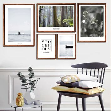 5 Piece Nodic Painting Forest large Canvas Wall Art huge Modern Ocean Decor Printed Painting Canvas Pictures for Living Room