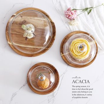 Acacia Wooden Plate for Cake Fruit Dessert Serving Trays Creative Wedding Birthday Party Afternoon Tea Tray with Cover S M L