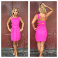 Fuschia Chiffon Open Back Danielle Dress