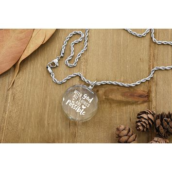 Round K9 Crystal Inspirational Necklace by Pink Box