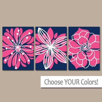 Navy Hot Pink Decor, Flower Wall Art, Navy Pink Bedroom Pictures, Canvas or Print, Navy Pink Nursery, Flower Bathroom Decor, Set of 3