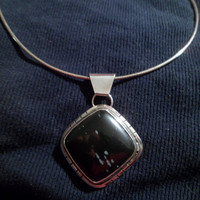 Authentic Navajo,Native American,Southwestern sterling silver,snowflake black obsidian pendant/necklace.